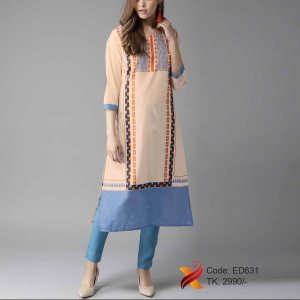 Linen Embroidered Kurti