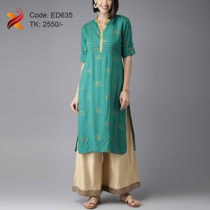 Paste Color Kurti with Palazzo