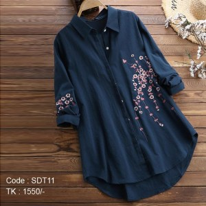 Cotton Navy Blue Shirt