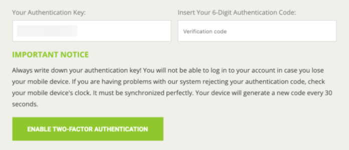 Bitstamp 2FA setup enable two-factor authentication form.