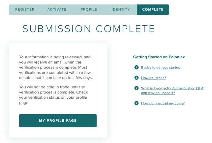 Poloniex account sign up Identity Verification submission complete page.