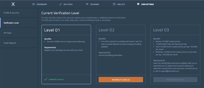 XRP United user settings verification level tab.