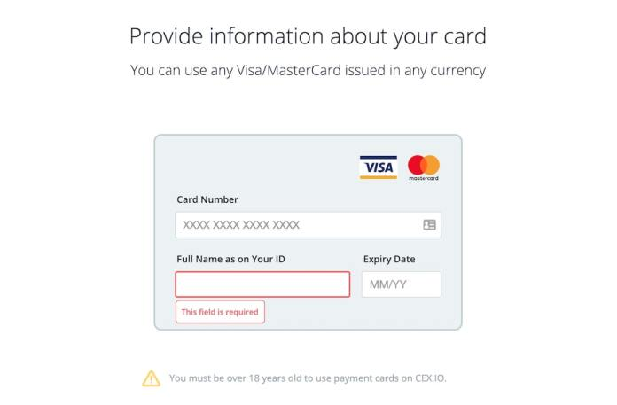 CEX.IO add new credit card information form.
