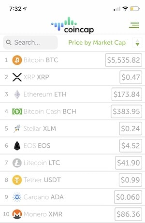 list of crypto currencies