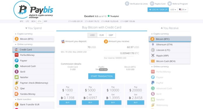 Paybis exchange homepage buy XRP with a credit card guide.