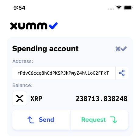 XUMM app home screen wallet display send and request button