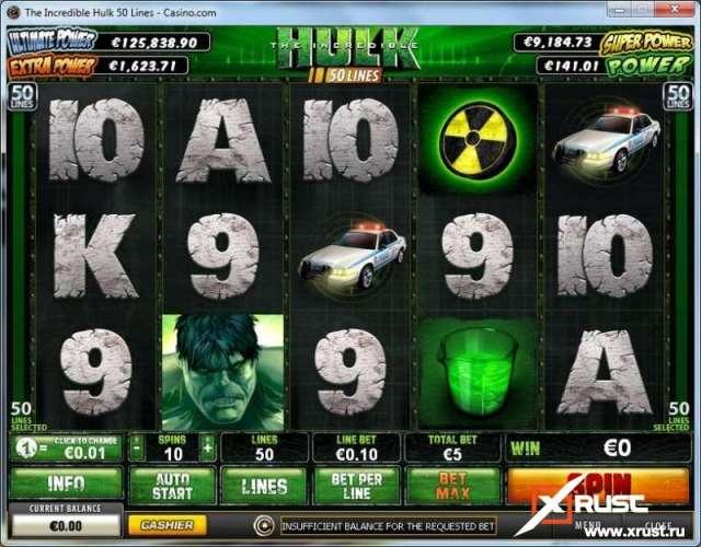 Игровой автомат The Incredible Hulk 50 lines