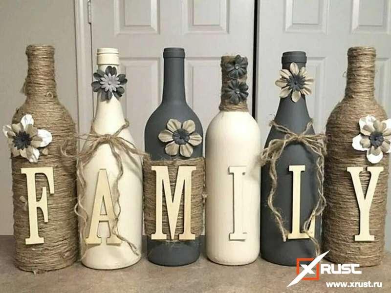 Как сделать дизайнерский декор из старых стеклянных бутылок?