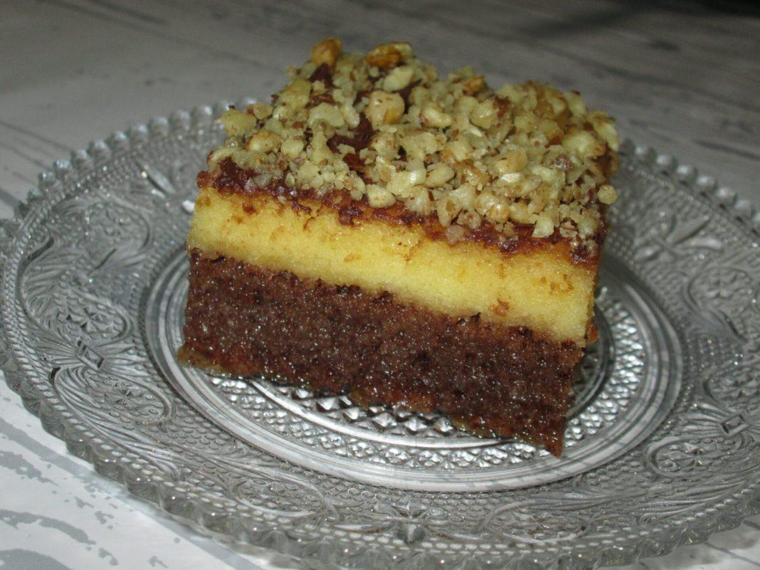 Δίχρωμο σιροπιαστό Κέικ