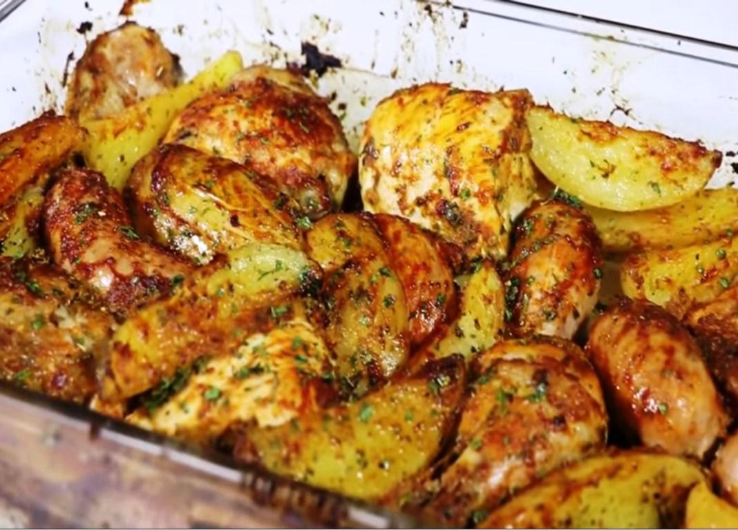Κοτόπουλο βραστό και μετά στο φούρνο