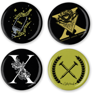 4 straight edge buttons