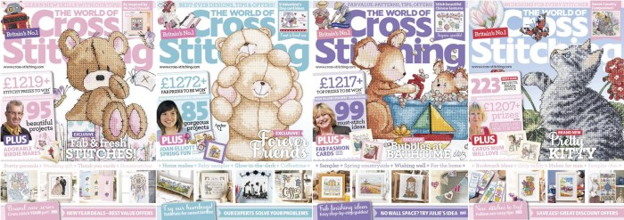 The World of Cross Stitching covers for January to April 2015