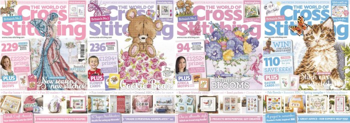 The World of Cross Stitching covers for January to April 2017