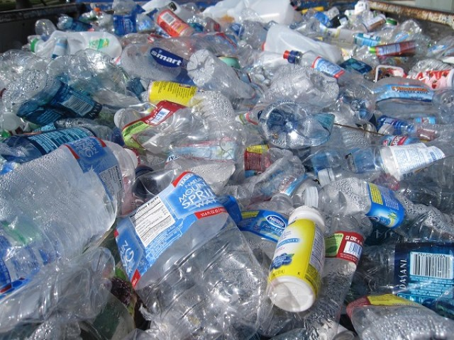 Plastic water bottles, waste