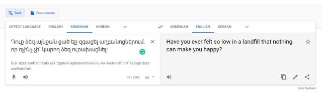 Google Translate_Reverse Translation_English to Armenian
