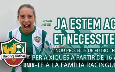 El Ràcing Xàtiva llança un nou projecte de futbol femení