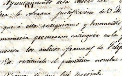 L'Arxiu de Xàtiva publica el document del mes de setembre: La restitució del nom a la ciutat de Xàtiva