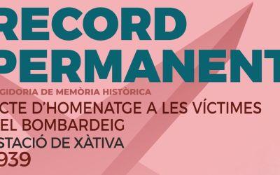Xàtiva commemora l'aniversari del bombardeig de l'estació amb una ofrena de flors i un curtmetratge documental