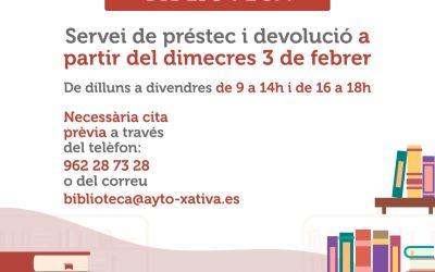 La Biblioteca Municipal de Xàtiva recupera el servei de préstec i devolució de llibres amb cita prèvia