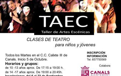 Canals organitza un taller de teatre per a xiquets, xiquetes i joves