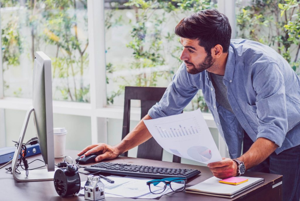 Businessman working from home on computer