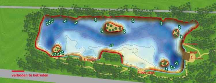 Het domein is 4,8 hectare groot, volledig omheind, en het water heeft een oppervlakte van 2,2 hectare.