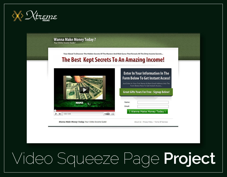 Video Squeeze Page Project
