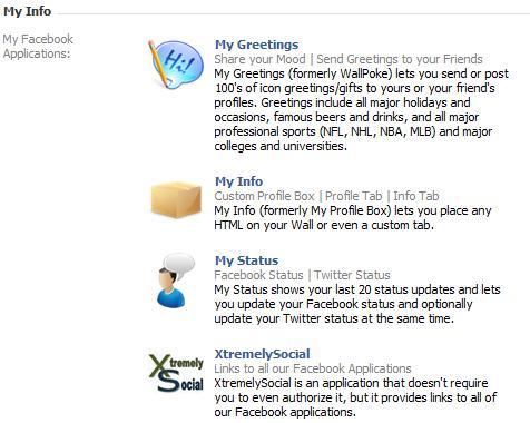 My Info: Info Section Screenshot