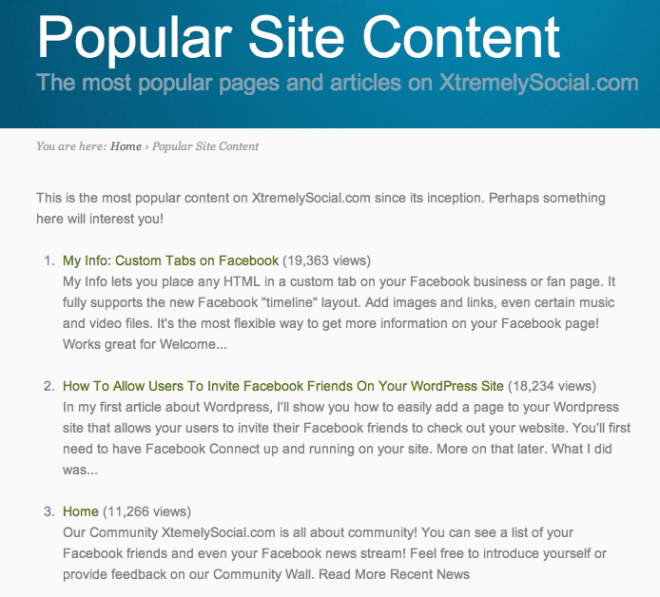 WordPress Popular Content Page
