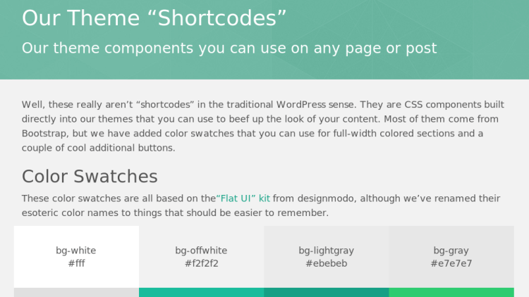 Our Shortcodes Page