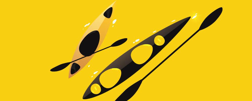 Black and yellow Kayak