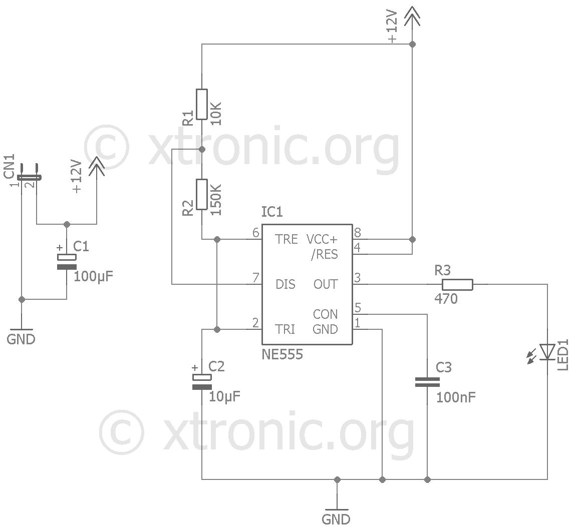 5 Second 555 Timer Circuit Astable