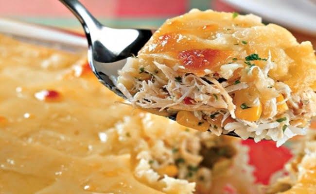 Receita de Arroz de frango com queijo