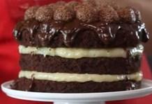 Receita de Naked Cake de Brigadeiro com Beijinho