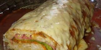 Receita de Rocambole de Frango com presunto e queijo