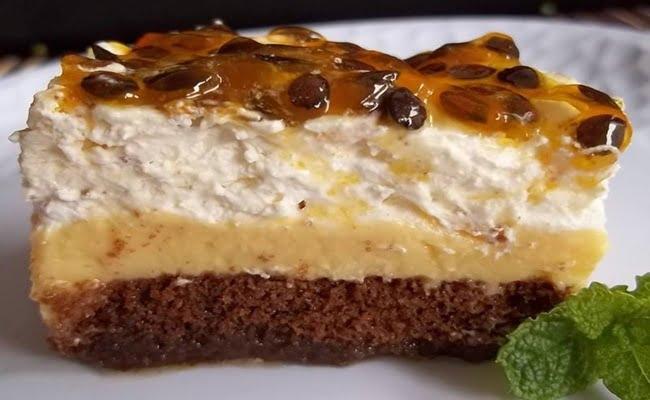 Receita de Torta Pavê de Maracujá