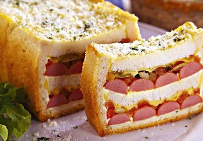 Receita de Sanduíche de Salsicha no Forno