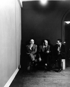 Black and white photograph of artists Barnett Newman, Jackson Pollock and Tony Smith