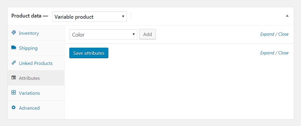 添加WooCommerce属性。