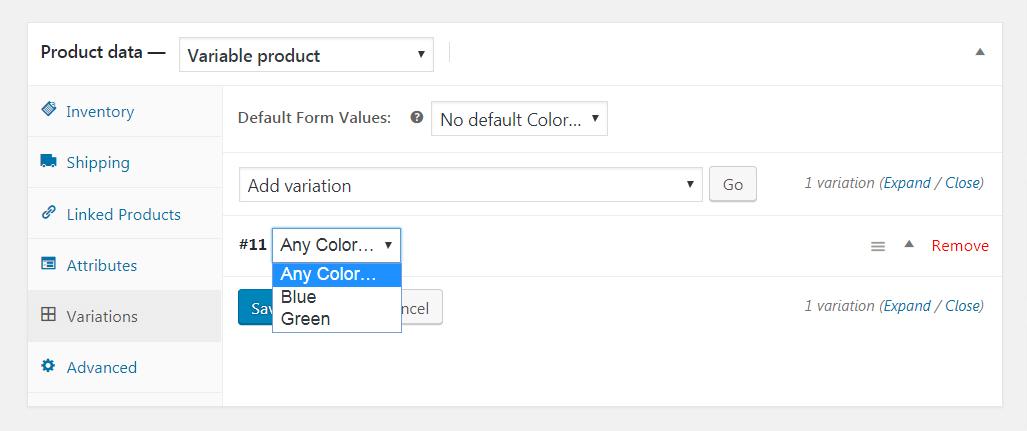 添加WooCommerce变体。