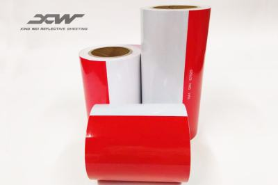 White and red Reflective barrier stirps rolls