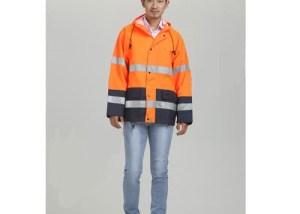 High Visibility Orange Reflective Raincoat