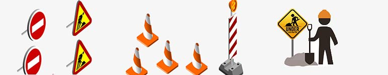 Reflective signs for Construction Zone & Work Zone