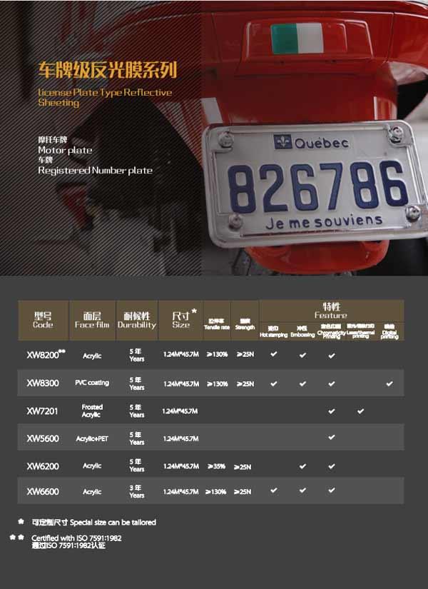 license plate reflective film catalog