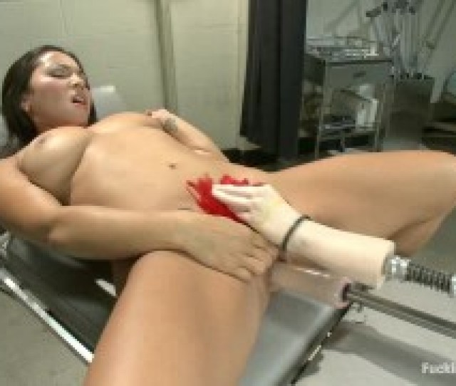 Long Haired Brunette With Big Juggs Gets Her Vagina Stimulated With Various Fucking Machines