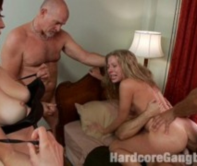 Rough Sex Video Of Lovely Blonde Forced To Please Three Dicks On The Orgy Party