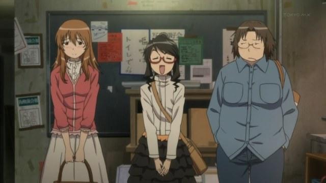 Les trois nouvelles recrues du Genshiken.