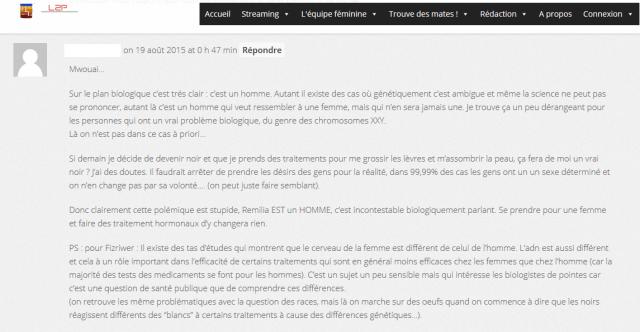 Commentaire sur le site L2P RNG : Remilia, première femme aux LCS ?