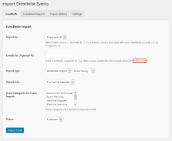 Import Eventbrite events by Organiser ID.(Pro)