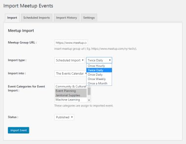 Import Meetup events (scheduled import)